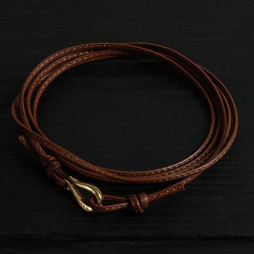 Bracelet cordon cuir marron fin et crochet vermeil