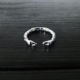 Scarab legs ring, sterling silver