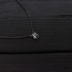 Small patinated silver scarab necklace