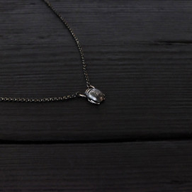 Small scarab necklace, oxidized sterling silver