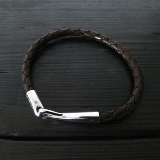 """Bracelet cuir marron et fermoir """"Limpide"""""""