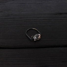 Small scarab ring, oxidized sterling silver