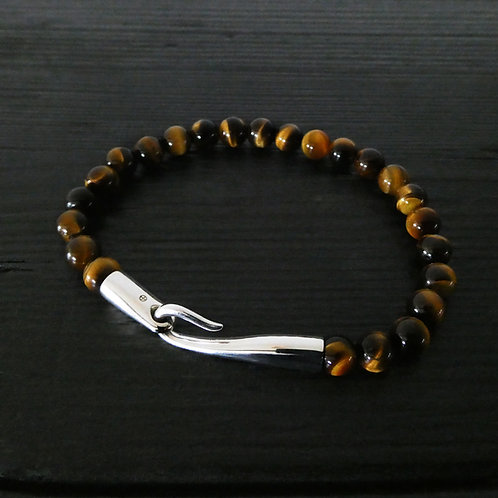 """Bracelet perles quartz Oeil de tigre et fermoir """"Limpide"""" argent 925"""