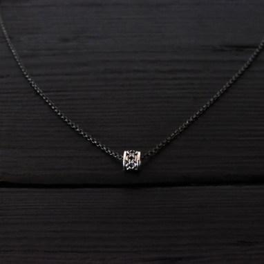 Collier petit anneau chaine argent 925 patiné