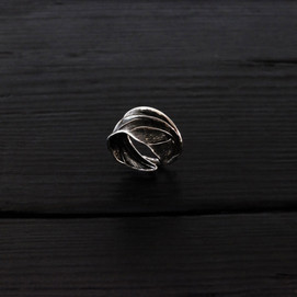 Scarab wing ring, oxidized sterling silver