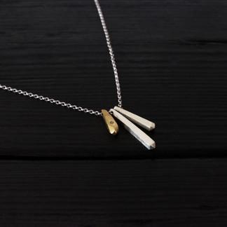 Collier quartz longs argent 925 et vermeil