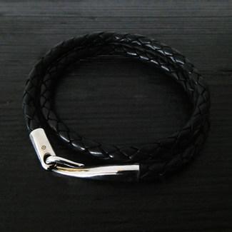 """Bracelet cuir noir double et fermoir """"Limpide"""""""