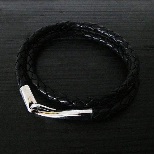 """Bracelet cuir noir double tour et fermoir """"Limpide"""""""