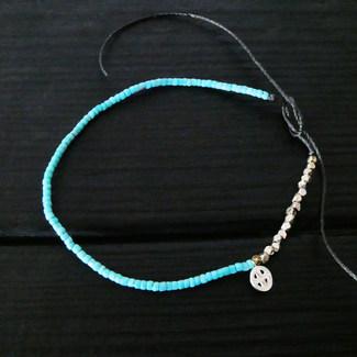 Bracelet perles verre bleues