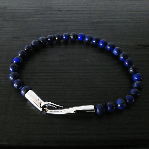 """Bracelet perles Lapis lazuli et fermoir """"Limpide"""""""