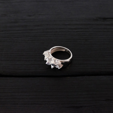 Quartz accumulation sterling silver ring