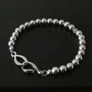 """Bracelet perles argent et fermoir """"Infini"""""""