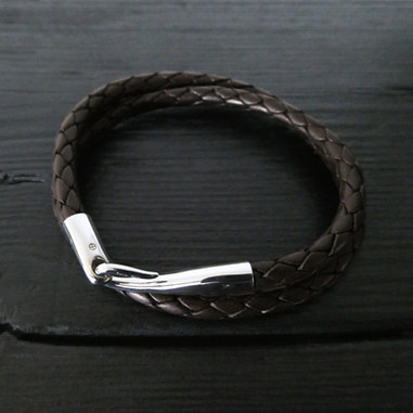 "Bracelet cuir marron double et fermoir ""Limpide"""