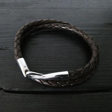 """Bracelet cuir double tour et fermoir """"Limpide"""""""