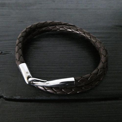 """Bracelet cuir marron double tour et fermoir """"Limpide"""""""