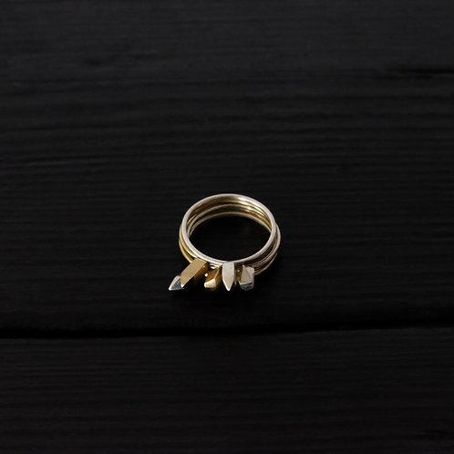 """Bague anneaux """"Quartz"""" longs argent 925 et vermeil."""