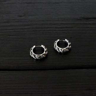 Boucles d'oreille anneau cordage argent 925 patiné