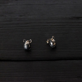 Small scarab earrings, oxidized sterling silver