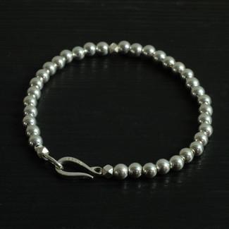 """Bracelet perles argent et fermoir """"Crochet"""""""