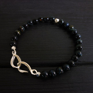 """Bracelet perles oeil de faucon 6mm et fermoir """"infini"""" argent 925"""