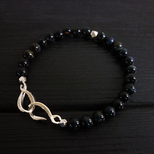 """Bracelet perles Oeil de faucon et fermoir """"Infini"""""""
