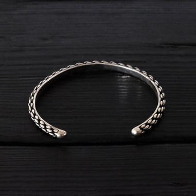 """Cordage"" bangle bracelet, oxidized sterling silver"