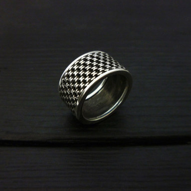 """""""Chain"""" wide ring, sterling silver"""