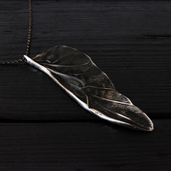 Large patinated beetle wing necklace in 925 silver