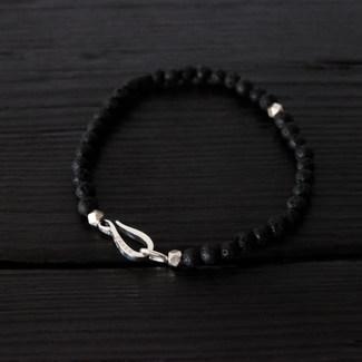 "Bracelet lava beads and ""Hook"" silver"