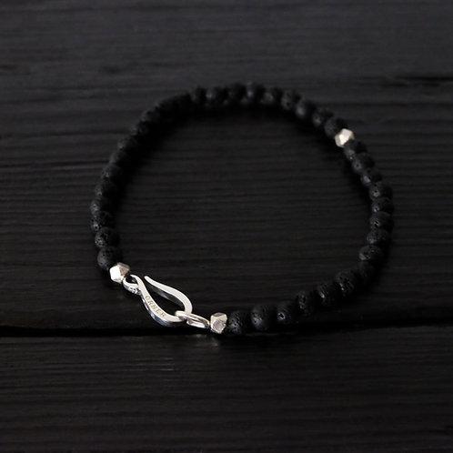 Bracelet perles de lave et crochet argent 925