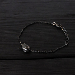 Patinated 925 silver small scarab bracelet