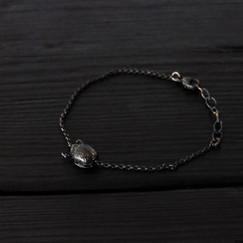 Bracelet petit scarabée argent 925 patiné