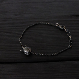 Small scarab bracelet, oxidized sterling silver