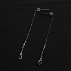 Patinated 925 silver scarab paw earrings 8cm