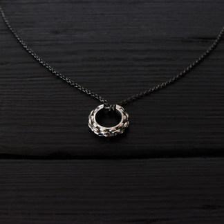 Collier anneau cordage argent 925 patiné et chaîne fine