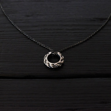 """""""Cordage"""" ring necklace, oxidized sterling silver and thin chain"""