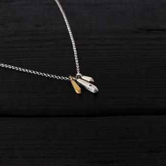 Collier quartz courts argent 925 et vermeil