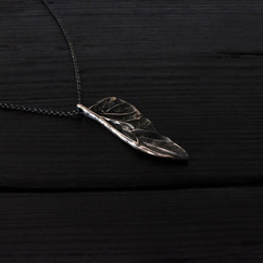 Small patinated silver scarab wing necklace