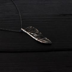 Collier petite aile scarabée argent 925 patiné