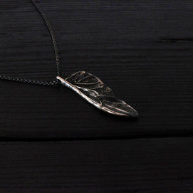Small scarab wing necklace, oxidized sterling silver