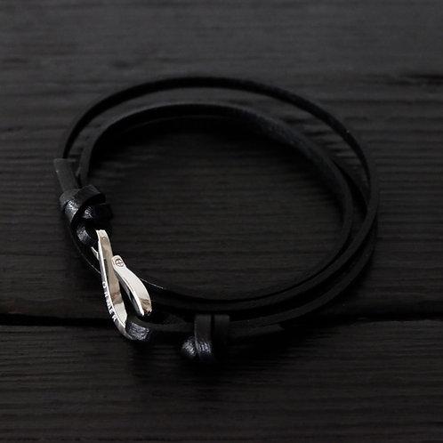 Bracelet cuir noir et crochet argent 925