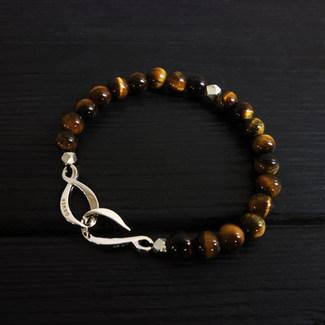 """Bracelet perles oeil de tigre 6mm et fermoir """"infini"""" argent 925"""
