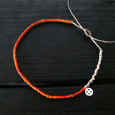 Orange glass beads bracelet