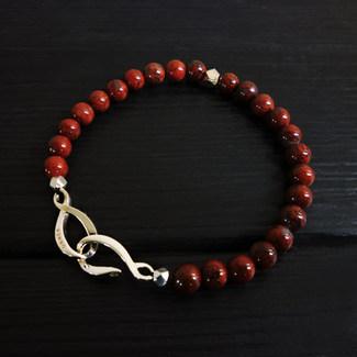 """Bracelet perles jaspe rouge 6mm et fermoir """"infini"""" argent 925"""