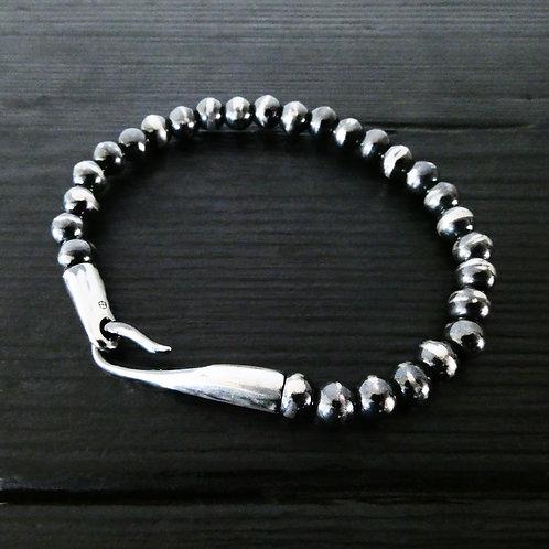 """Bracelet perles et fermoir """"limpide"""" argent patiné"""