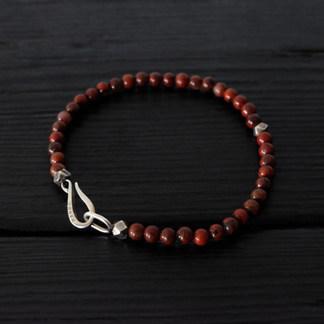 "Red jasper and silver ""hook"" bead bracelet"
