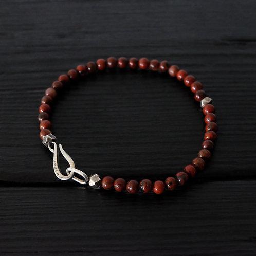 Bracelet perles jaspe rouge