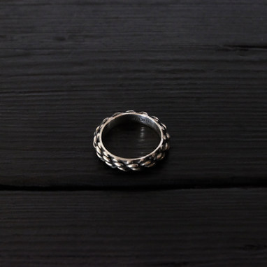 """""""Cordage"""" ring, oxidized sterling silver"""
