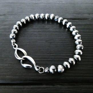 """Bracelet perles argent patiné et fermoir """"Infini"""""""
