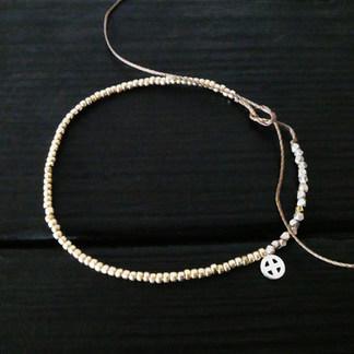 Bracelet perles de verre métalisées rondes
